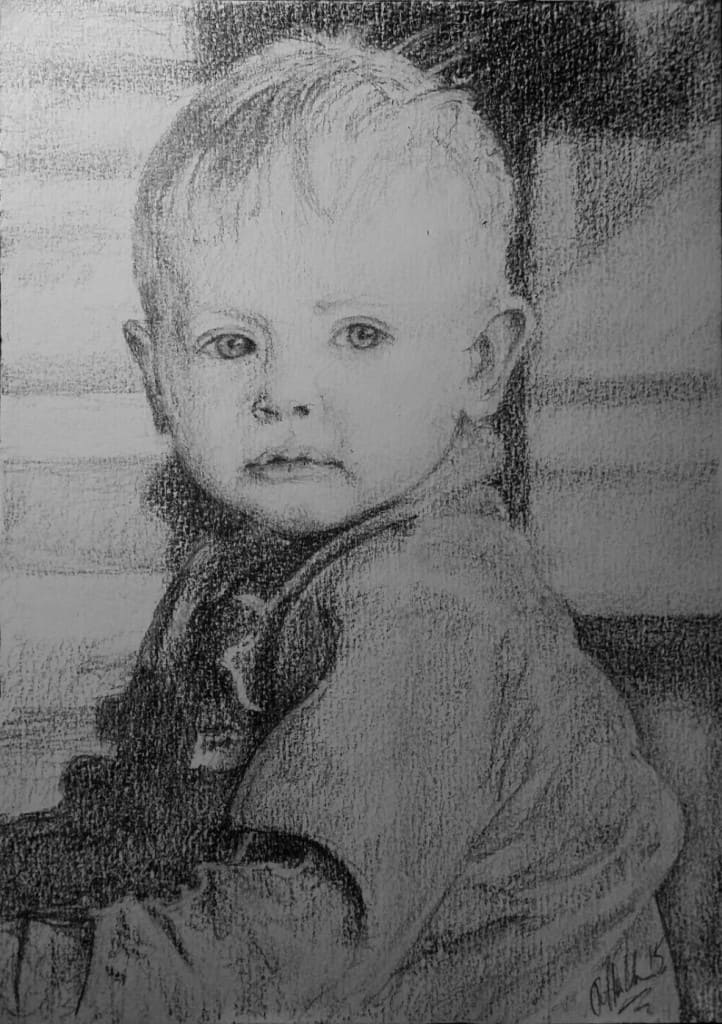 portrett, portrait, tegning, drawing, boy, child, gutt, barn, petteruren.com