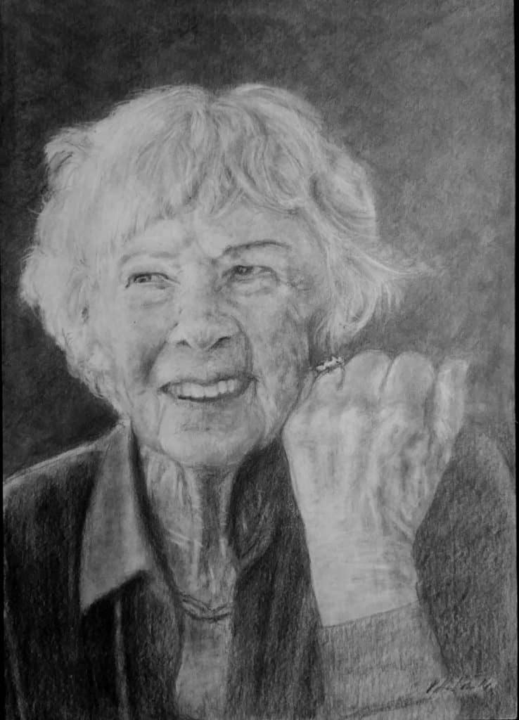 drawing portrait of old woman