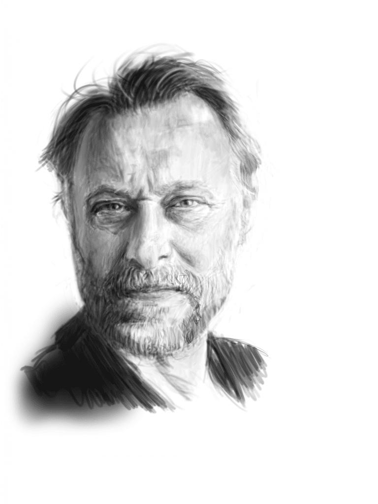 Michael Nyqvist. www.petteruren.com. tegning. drawing. portrett. portrait